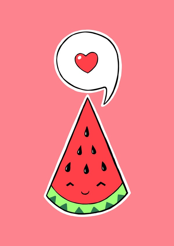 Watermelon clipart kawaii 2 Art Watermelon IllustrationCute Print
