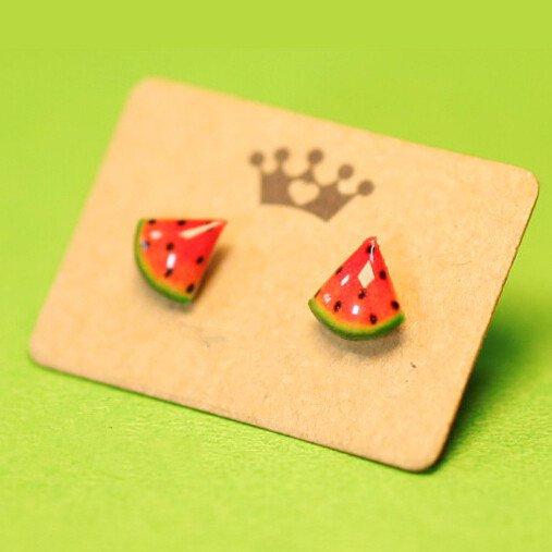 Drawn watermelon large Creativity Hand drawn earrings style