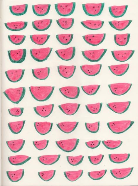 Drawn watermelon Http:/ on @We pattern thekittysailor:
