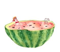 Drawn watermelon whale MELON and Drawings Pin falls