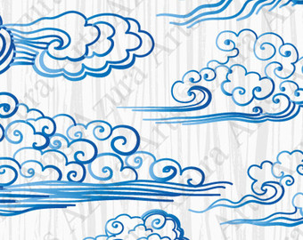 Curl clipart blue wave Curl Drawn clouds clipart Blue