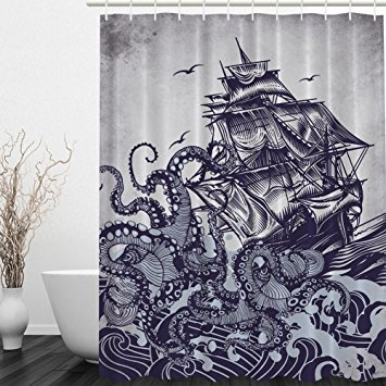 Drawn wave Octopus Messagee Drawing Waves Curtain