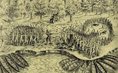 Drawn weapon algonquin 1609 and Quatr History battle