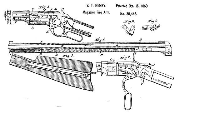 Drawn weapon bullet Firearms patent_drawing_henry_rifle Civil War