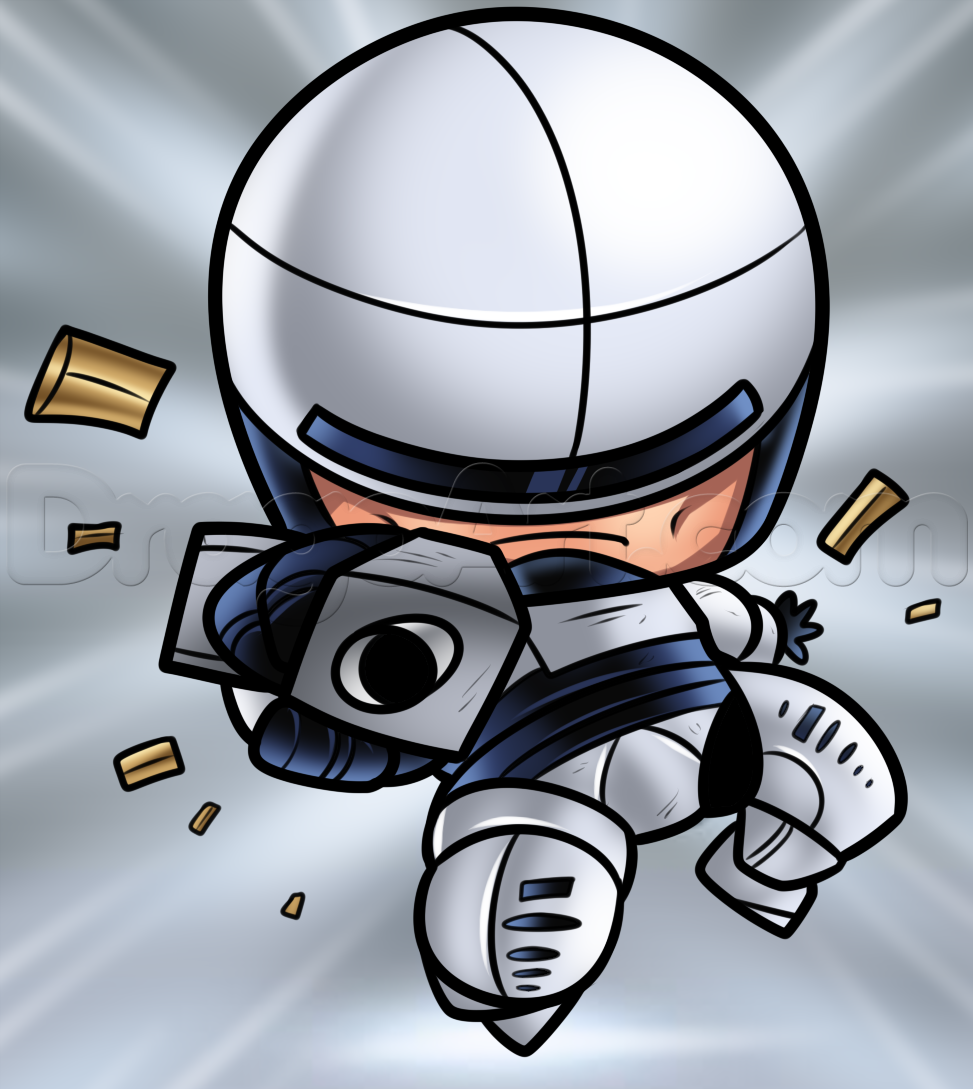 Drawn weapon chibi Robocop to how Draw How