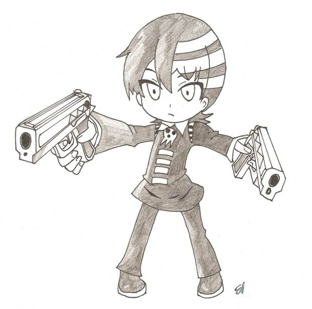 Drawn weapon chibi Kid Death Chibi BlackSythe73 by