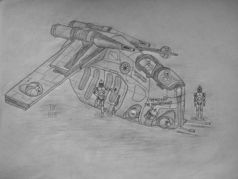 Drawn weapon clone LAAT clone LAAT gunship on