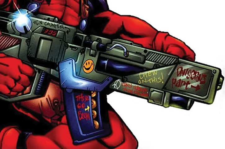 Drawn weapon deadpool game Decorated mouth a org Deadpool's
