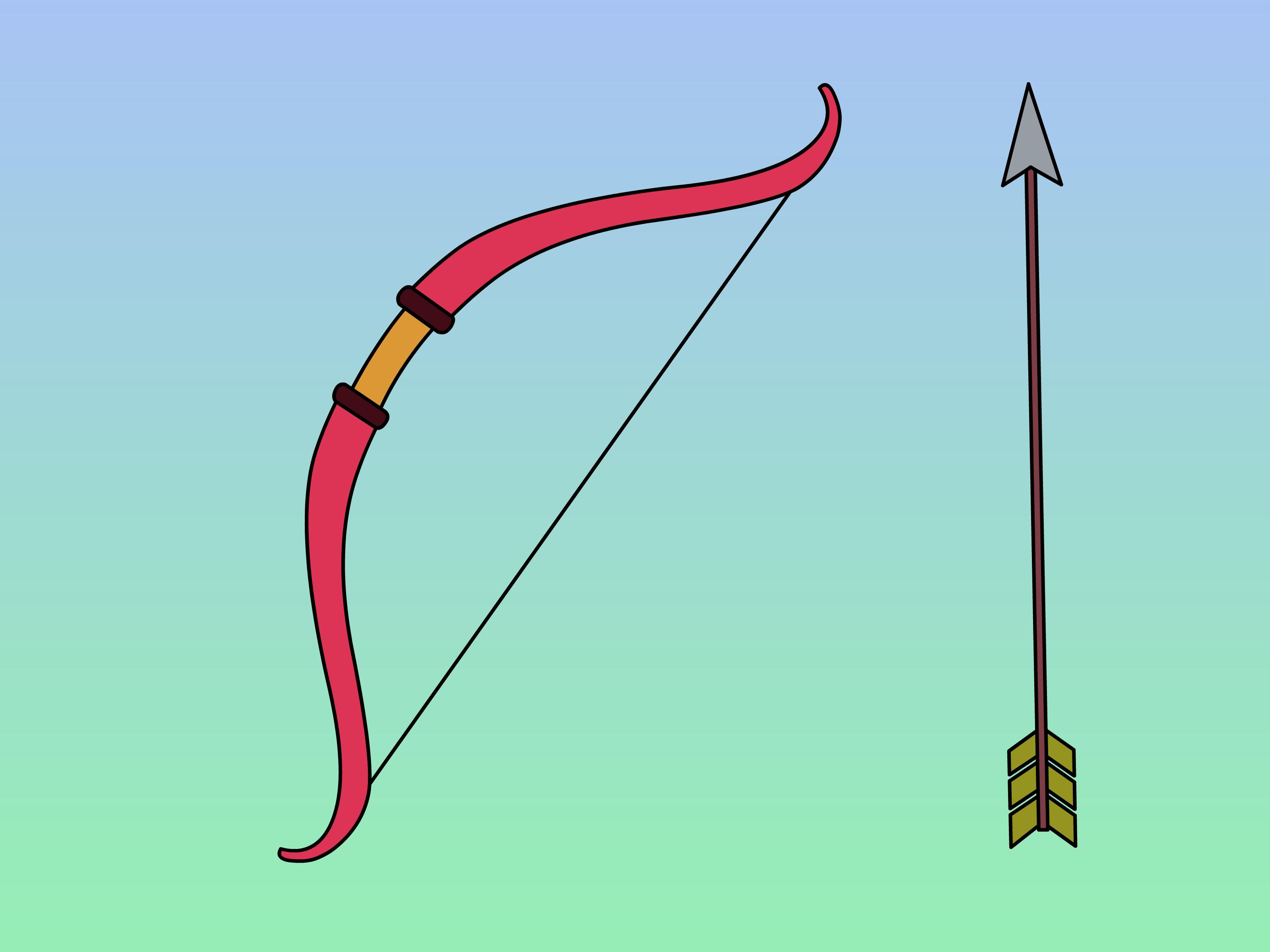 Drawn arrow archery A (with Bow  Draw