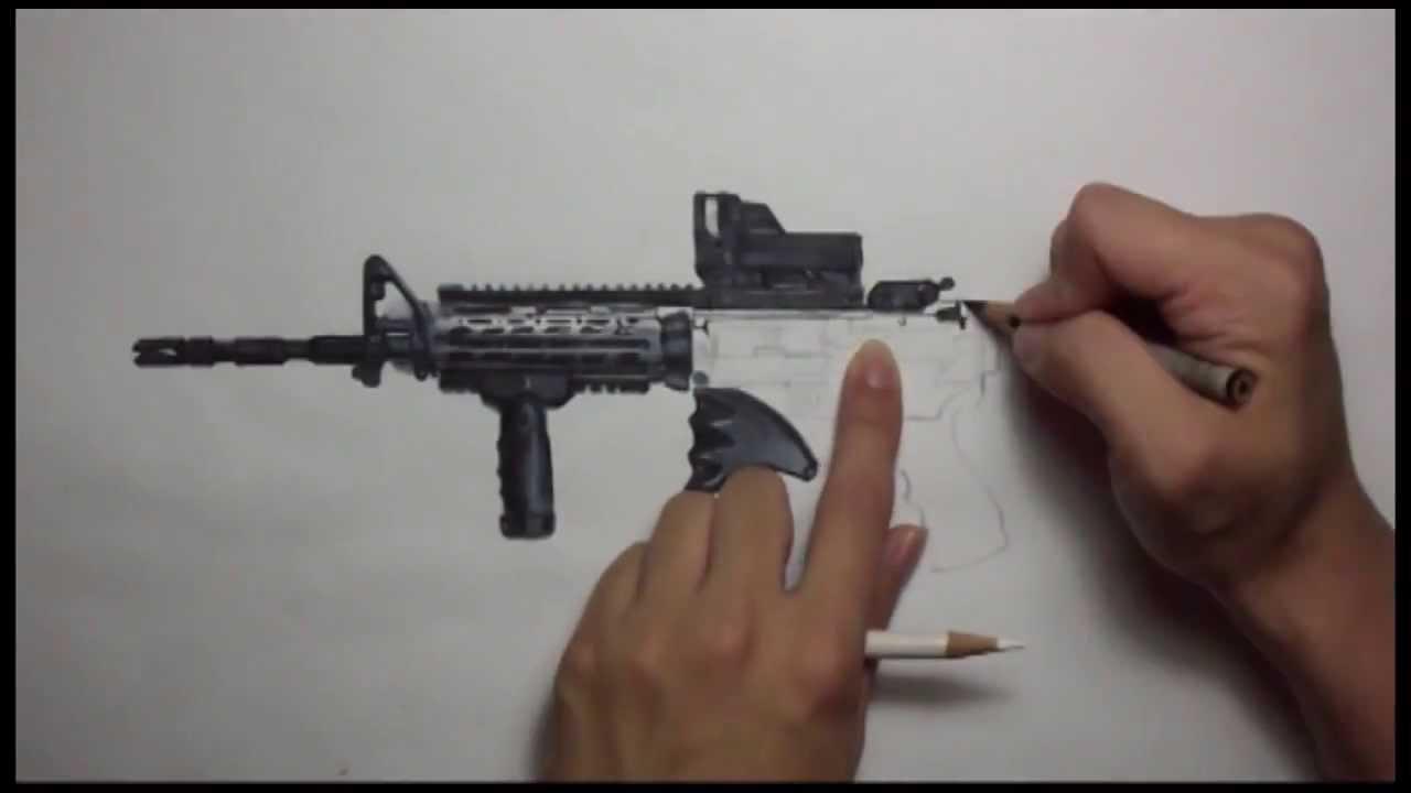 Drawn gun ar 15 Realistic 15 drawing AR 15