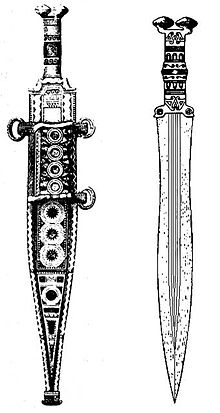 Drawn weapon roman Iberia earliest one Iron II