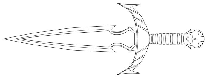 Drawn weapon skyrim Dagger by Razor linearts lineart
