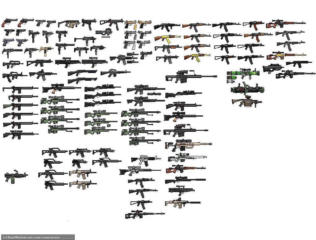 Drawn gun sprite sheet Gun sprites Gun Screen sprites