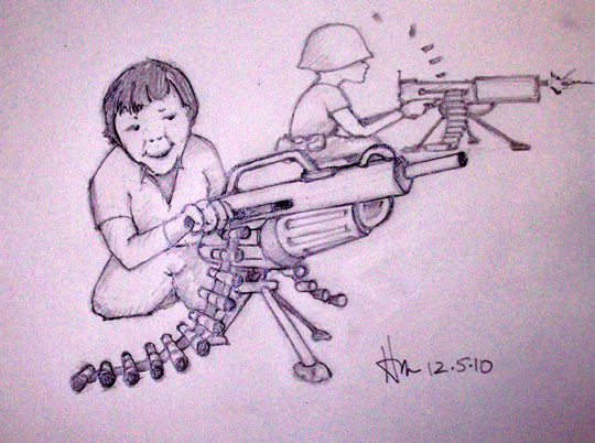 Drawn weapon strong Hallucinations for drawing in Nerf