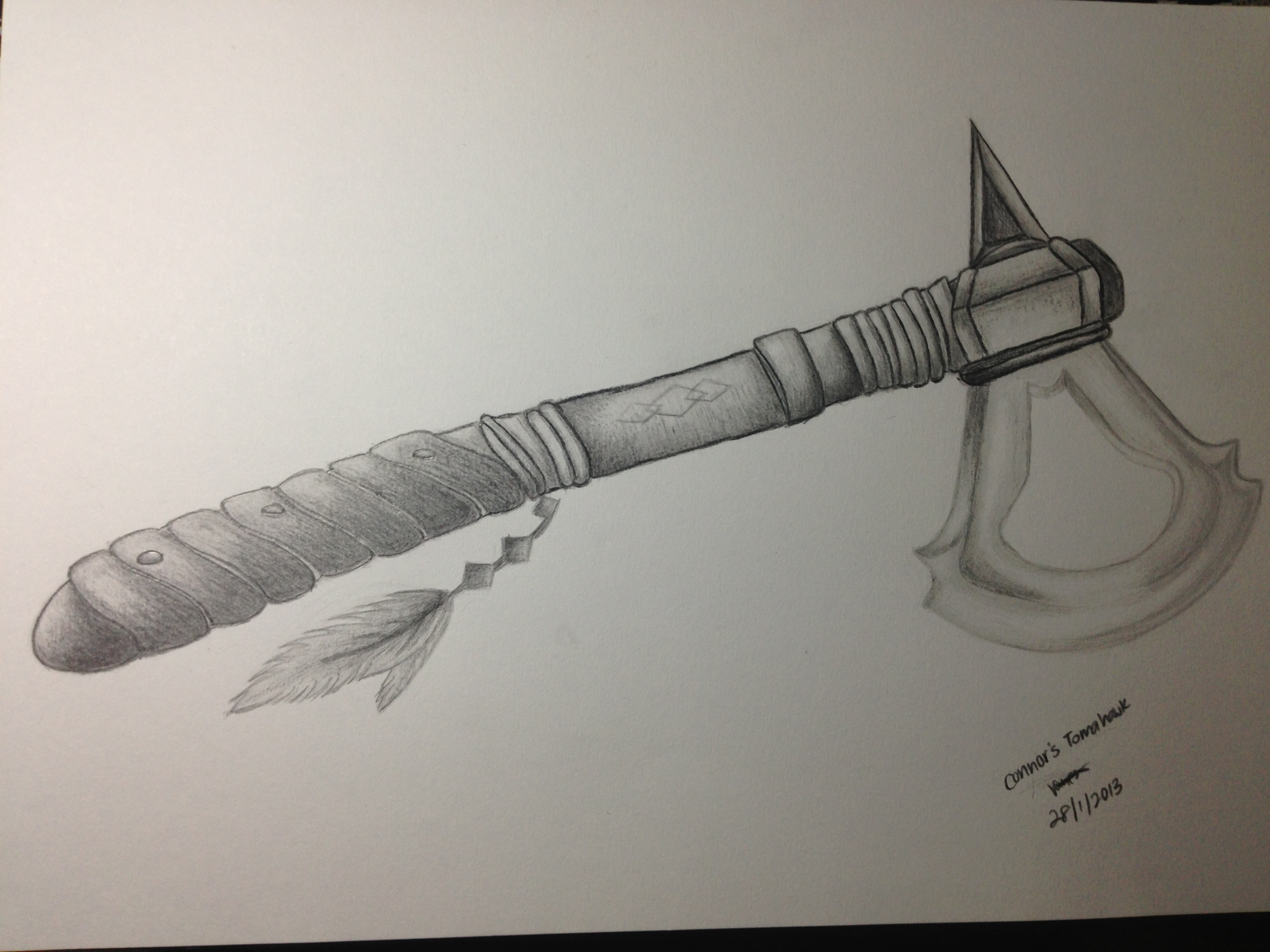 Drawn weapon tomahawk Creed on Tomahawk (Assassin's 3)