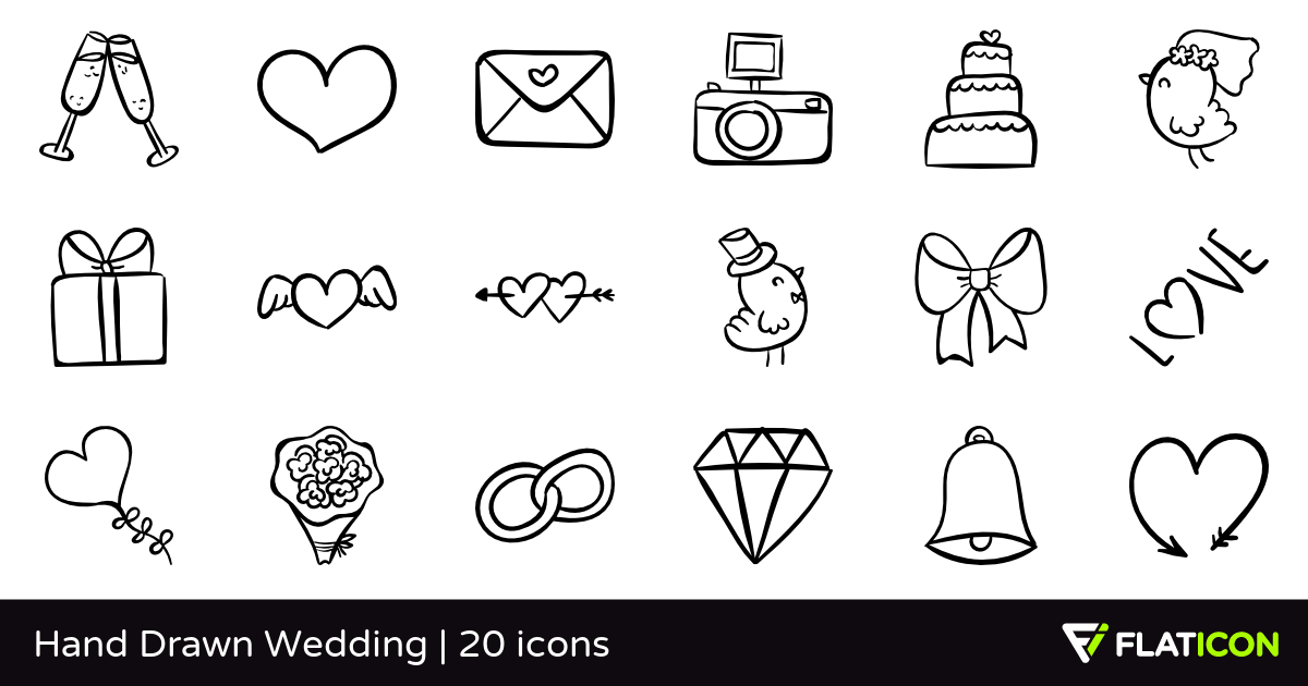 Drawn wedding PNG icons PSD Drawn EPS