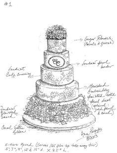 Drawn wedding cake Parzych www to Ana Step