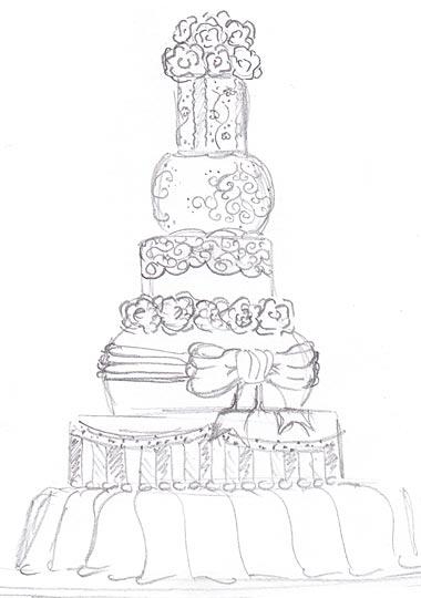 Drawn wedding cake The cake! details of
