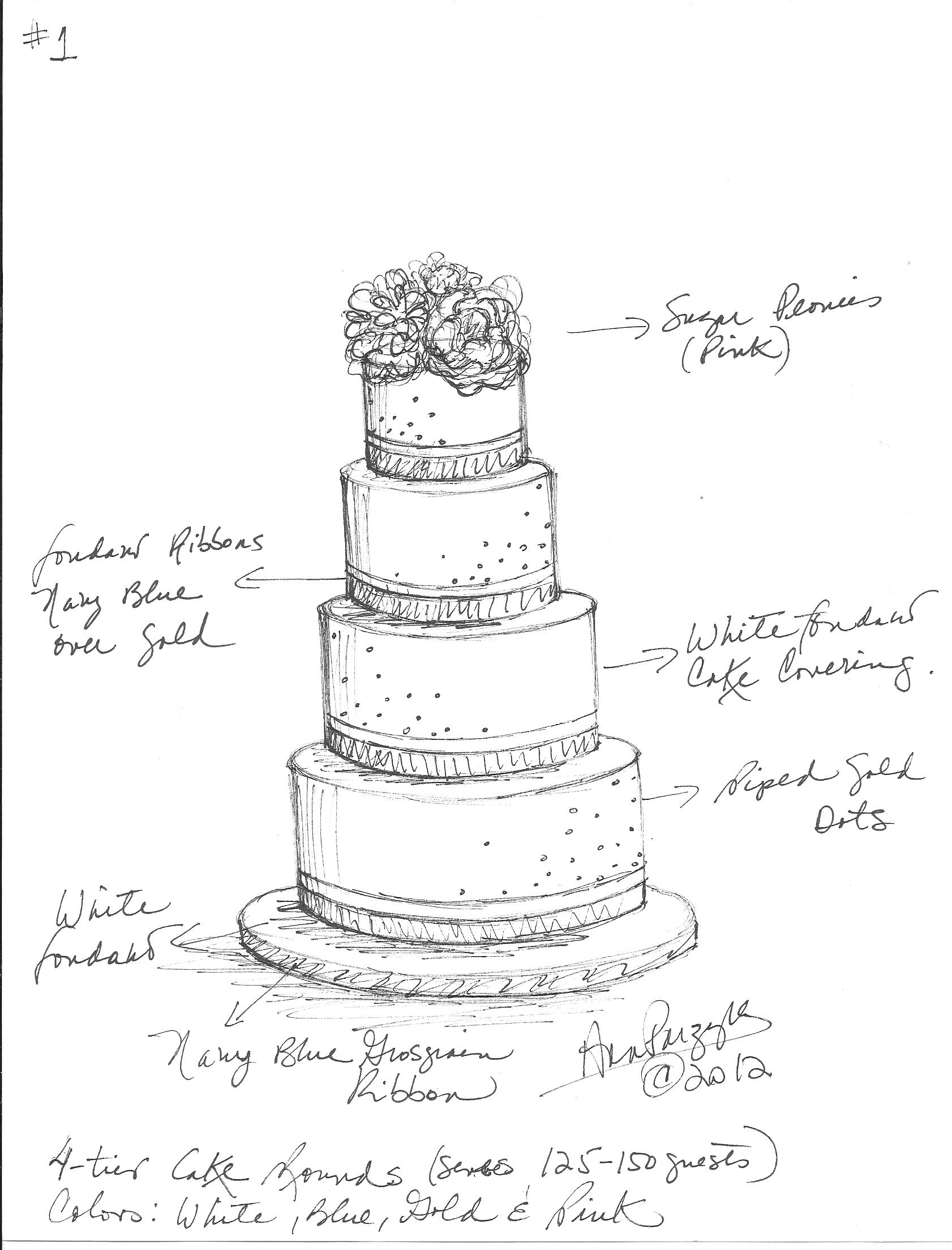 Drawn wedding cake Cake Wedding Gold Wedding @Ana