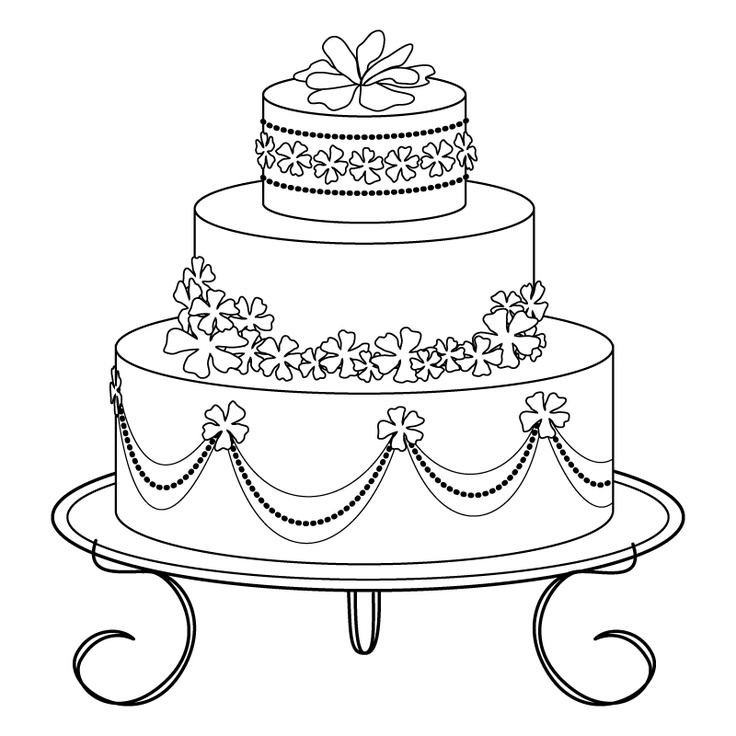 Wedding Cake clipart outline Free of on 561 images