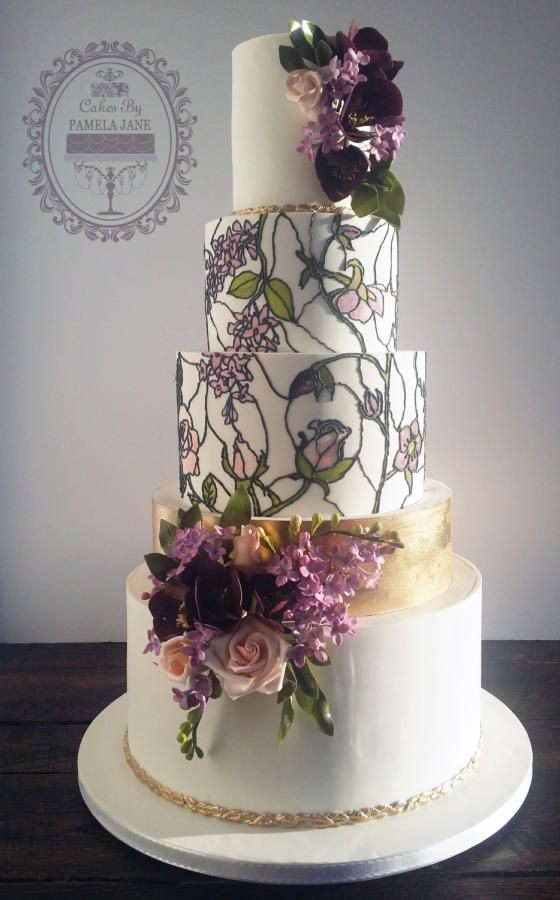 Drawn wedding cake colorful flower Roses stained I the this