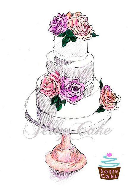 Drawn wedding cake colorful flower Pinterest cake Google draft Cake