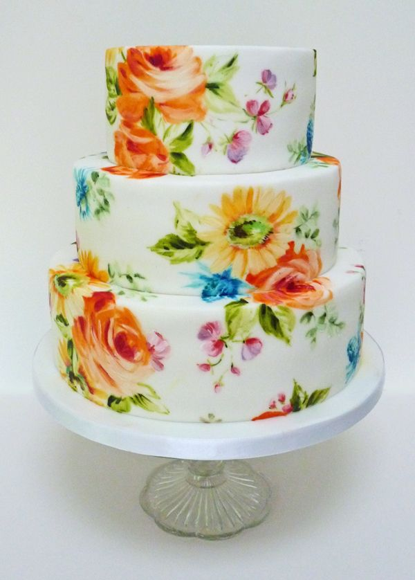 Drawn wedding cake colorful flower Best Japanese Bright Pinterest is