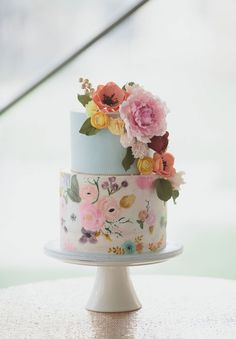Drawn wedding cake colorful flower Cake Indian Wedding Inspirations is