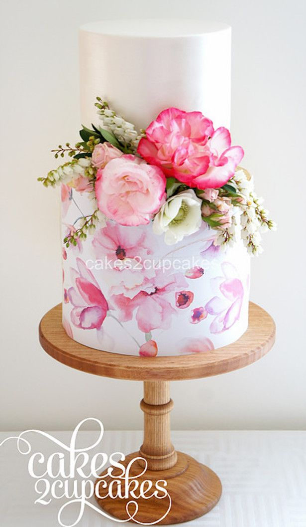 Drawn wedding cake colorful flower Hand Best Wedding Cakes Painted