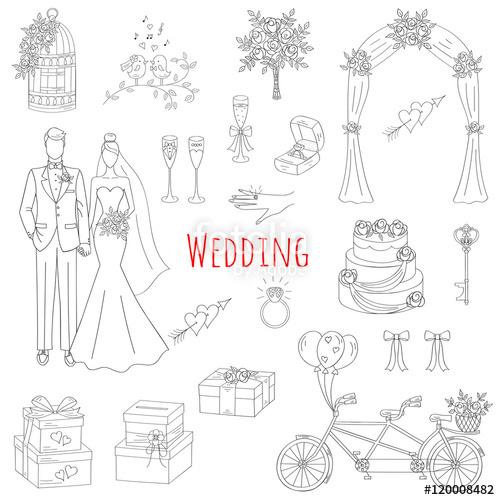 Drawn wedding cake hand drawn Cake of set wedding bride