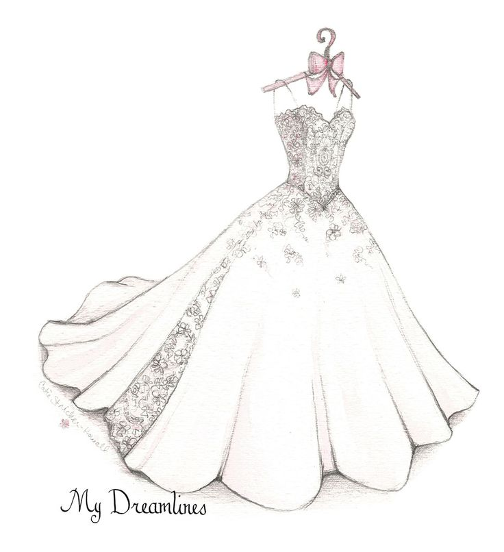 Drawn bride royal dress Para Anniversary or Drawing Dress