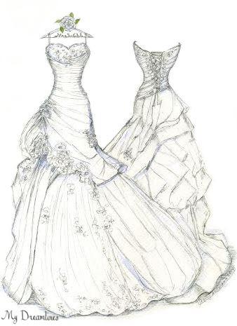 Drawn wedding dress back dress My year one & Dress