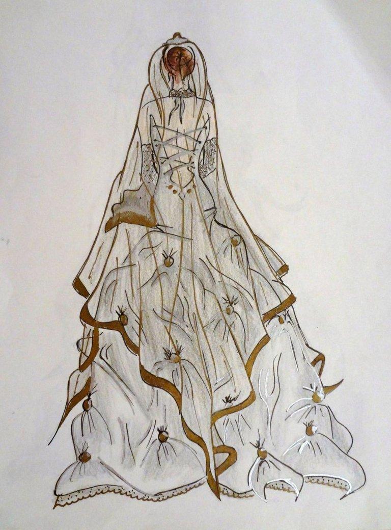 Drawn wedding dress back dress Nesu view Back of Nesu
