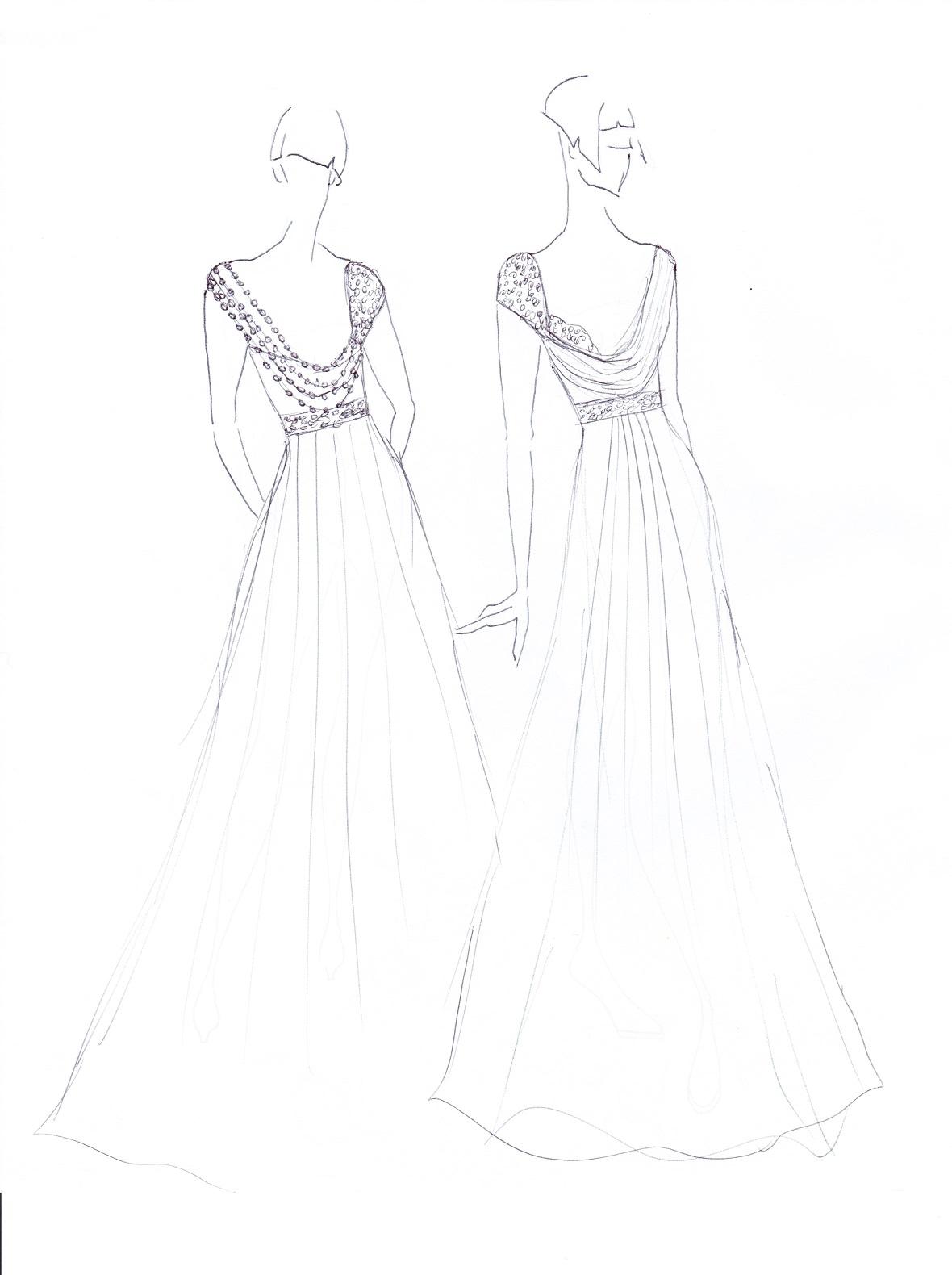 Drawn wedding dress back dress Dress pearl Cowl detail Wedding