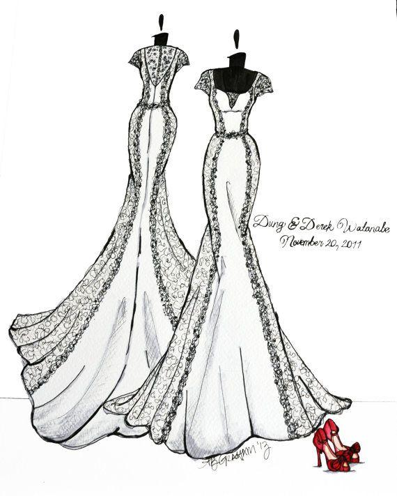 Drawn wedding dress back dress Draw Custom  11x14 draw
