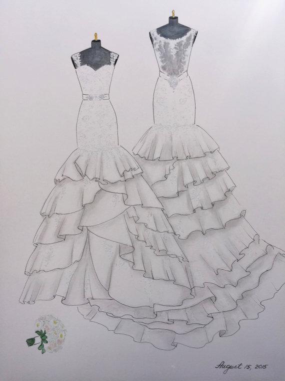 Drawn wedding dress back dress Wedding wedding Custom hand drawing