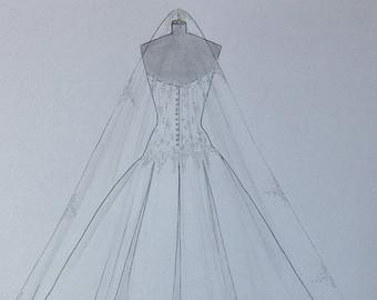 Drawn wedding dress back dress Hand Wedding Custom Anniversary drawing