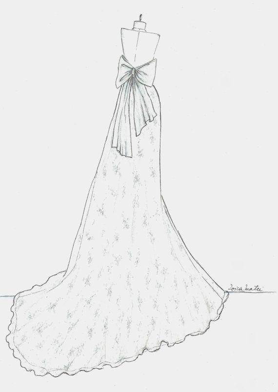 Drawn wedding dress back dress Illustration Back Custom $50 about