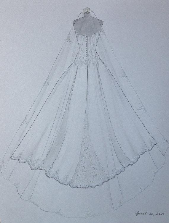Drawn wedding dress back dress Hand Wedding Custom Anniversary Dress
