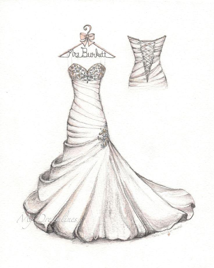Drawn wedding dress back dress Detail bubble Satin Pinterest personalized