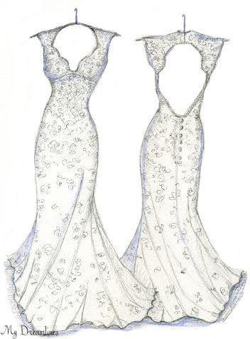 Drawn wedding dress back dress By of Sketch gift 485