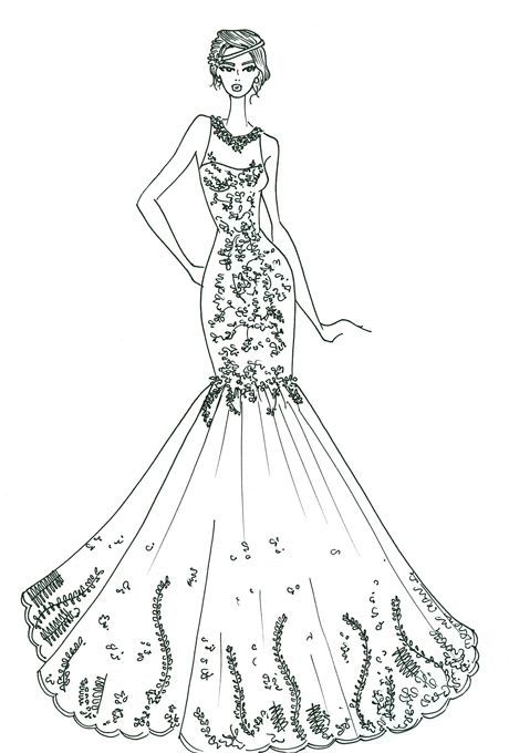 Drawn gown dress sketch Images Spring sketches Wedding on