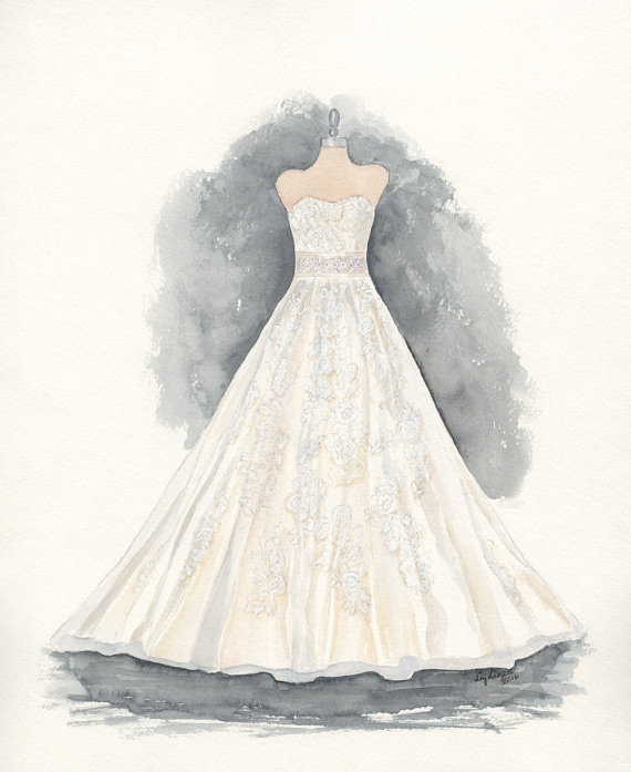 Drawn wedding dress christmas dress #14