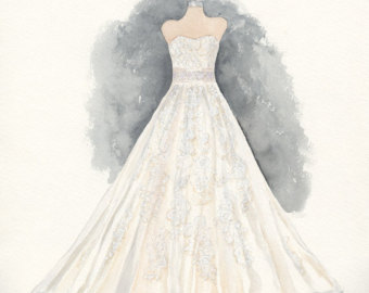 Drawn wedding dress christmas dress #5