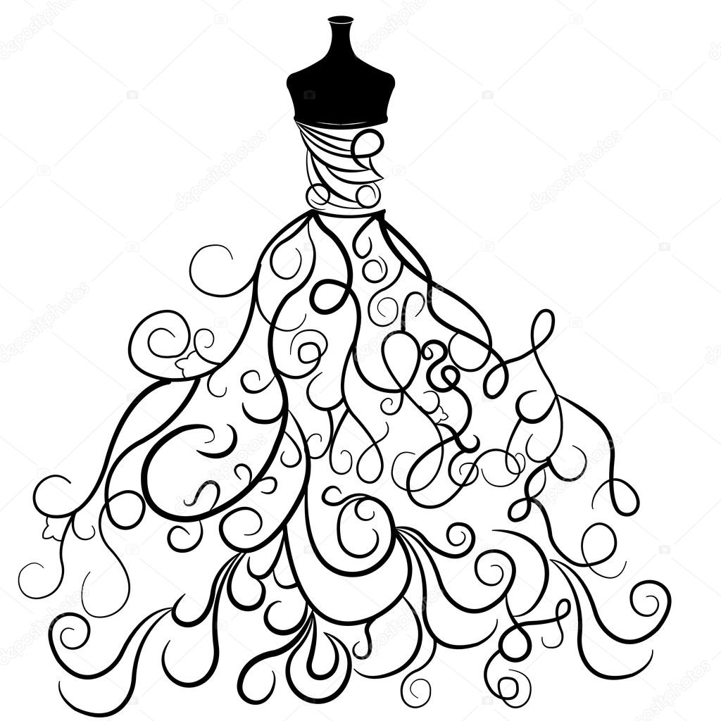 Drawn wedding dress christmas dress #8