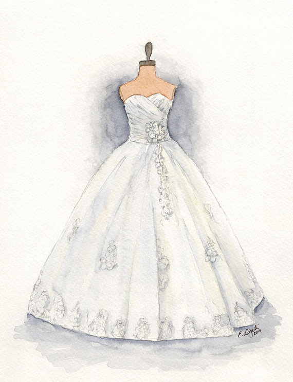 Drawn wedding dress christmas dress #1