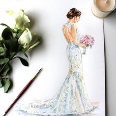 Drawn wedding dress christmas dress #11
