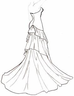 Drawn barbie gown Dress Flowing 01 Pinteres… …