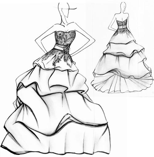 Drawn gown dress sketch Designs Designs Noviamor Drawing Sketches