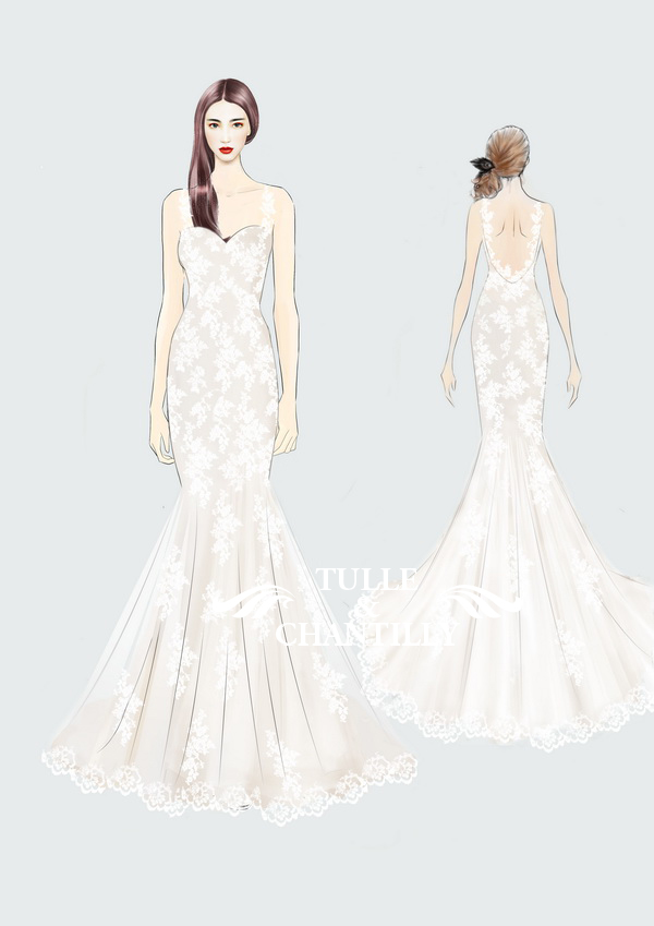 Drawn wedding dress dress style #11